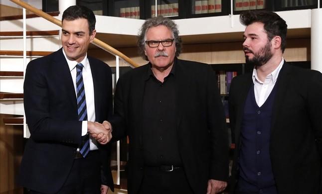 Madrid 16 02 2016 politica a 17h Pedro Sanchez se reune con ERC Encabezados por Joan Tarda y Gabriel Rufian Imagen Juan Manuel Prats